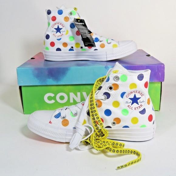 80bdeabd9ef0 Converse X Miley Cyrus Rainbow Polka Dot Pride NWT